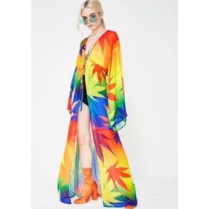 Dolls Kill Other - Rainbow Dank Duchess Kimono
